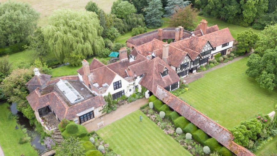 Great Tangley Manor from a drone