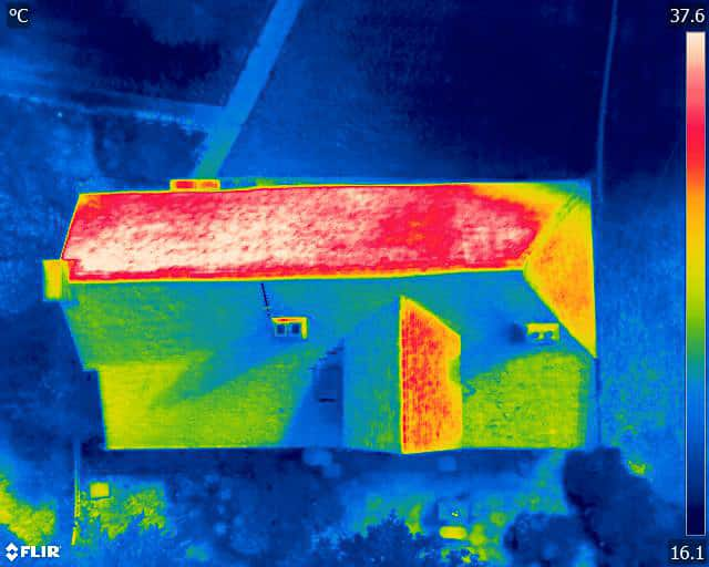 drone thermal imaging detection of heat loss through roof