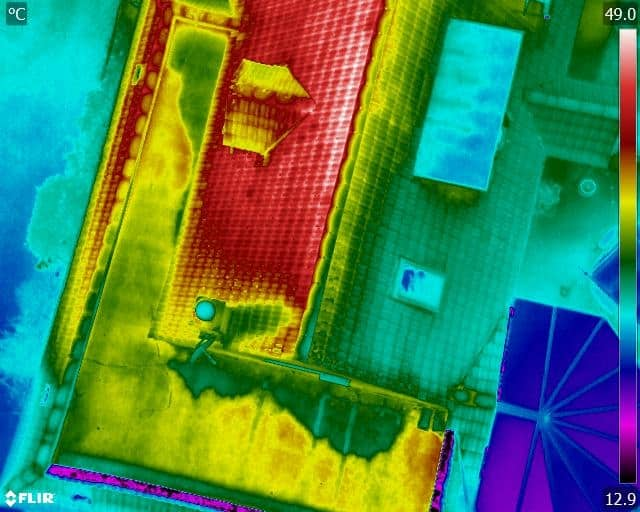 flat roof thermal image