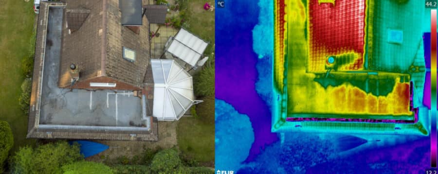 Flat roof inspection using thermal imaging for water ingress