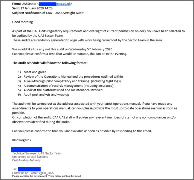 CAA Drone Audit eMail